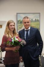 Merle Homeier mit Präsident Martin Brandt anläßlich des Empfangs zur Würdigung ihrer außergewöhnlichen Leistungen