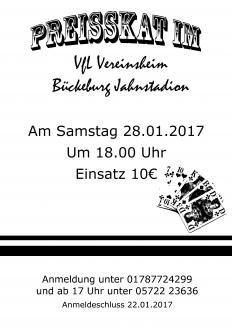 Preisskat im VfL-Vereinsheim am 28.01.2017 ab 18:00 Uhr